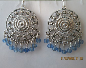 Silver Tone Chandelier Earrings with Pail Blue Bead Dangles