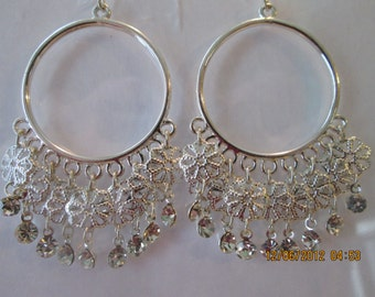 Silver Tone Hoop Earrings with Clear Crystal Beads and Silver Tone Charm Dangles