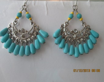 Silver Tone Chandelier Earrings with Turquoise Bead Dangles and Clear Rhinestones
