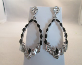 Teardrop Post Dangle Earrings with Clear and Black Crystal like Beads