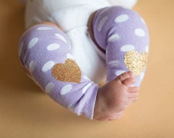 Baby Girl Leg Warmers Lavender White Dot Gold Glitter Heart Leggings Baby Girl Clothes Newborn or Baby Toddler Sizes