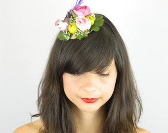 Fascinator Headpiece Cocktail Hat Feathered Bird and Silk Flowers in Pinks, Purple and Green Summer and Spring Party Hair Accessory