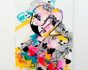 ACEO - Artist Trading Card - Art Card - Animal Aceo - ATC - Flamingo art - Small Art - Mini Art Card