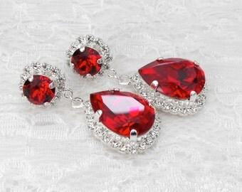 Red Wedding Earrings Red Ruby Chandelier Red Teardrop Winter Wedding Scarlet Red Ruby Bridesmaids Swarovski Crystal Silver Bridal Earrings