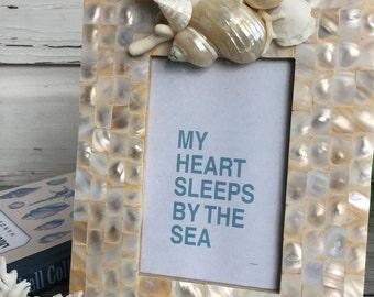 Capiz Seashell Picture Frame/ Wedding Frame/Mother of Pearl 4x6 Frame/Seashell Wedding Frame