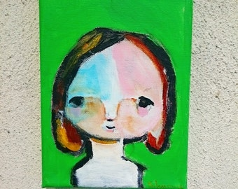 primitiv girl portrait in the green , acrylic painting on canvas , naive painting , Pop Art