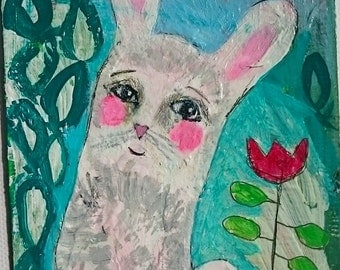 white rabbit, gardenflowers, acrylpainting on paper, postcard