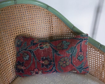 Vintage Handmade Floral Wool and Velvet Throw Pillow for Home Decor or Prop Display