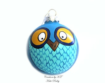Blue Owl Ornament Hand Painted Made to Order
