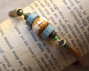 Tribal Bracelet - Leather Cord, Horn and Wood Beads - Handmade