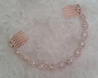 ROSE GOLD Bridal Headband Assemblage Crystal Hair Accessories Wedding Braided Gift Idea Classic Elegant Bride Hair Wreath Hair Combs