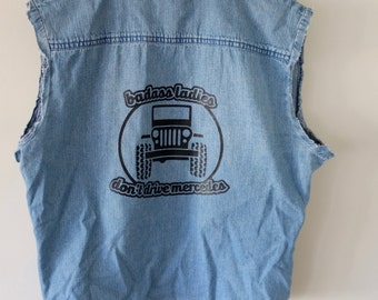 Badass Ladies Jeep Denim Cut Off Vest