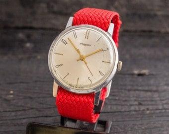 Vintage Pobeda mens watch, vintage mens watch, soviet mechanical wrist watch, vintage russian watch, ussr cccp
