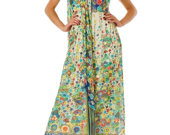 1970s Printed Lame Chiffon Dress With Fringed Scarf  Size: S