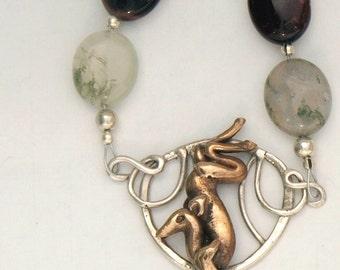 Art Nouveau Deer Necklace