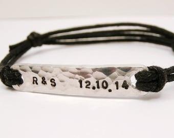 Custom Date & Initial Bracelet, Personalized Aluminum Hammered Bangle, Custom Stamped Initials, Dates, Mens, Womens, Anniversary, Wedding