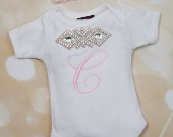 Personalized  Baby Girl One Piece Set Embroidered Infant Short Sleeve One Piece Set with Rhinestone Applique and Lace Headband