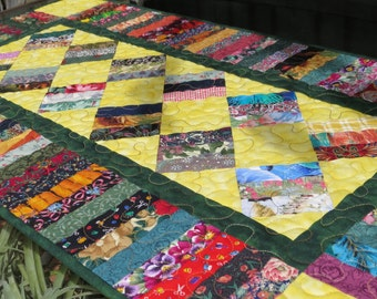 Quilted Scrap Table Runner Yellow Green 404