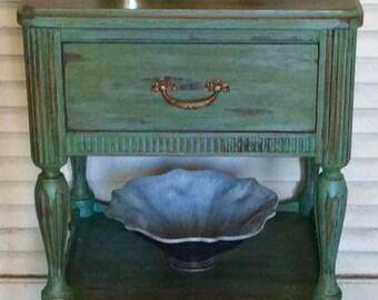 Green Vintage Nightstand 1940s