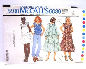Seventies 70s Dress & Top Pattern McCalls Pattern 6039 Misses Ladies Size 8 Tiered Long Puffy Sleeves Sleeve Ruffles Collar Loose Fit 1978