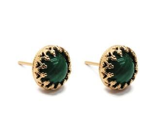 Malachite earrings. Gold gem earrings. gift for her, stud earrings, gem stud earrings. Gold green earrings. Gold posts. Gold studs