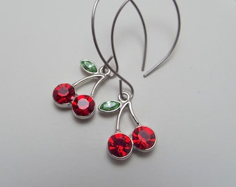 Red Cherries Earrings on Stainless Steel Hand Shaped Wires