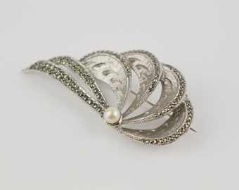 Art Deco Revival Ladies Large Brooch Silver Plated with Faux Marcasite and Faux Pearl Curved Brooch
