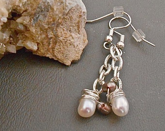 Earrings White and Taupe Fresh Water Pearls  Dangles Petite Wedding, Party Everyday Wear Gift