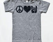 Peace Love And Rock n Roll T Shirt - American Apparel Tri-Blend Vintage Fashion - Graphic Tees for Men & Women