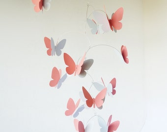 3D butterfly mobile, Hanging mobile in coral pink and grey , Home decor, Nursery ceiling decoration
