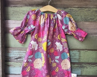 Girls Dress, Fall Dress, Floral Dress, Purple, Boho dress, birthday dress, long sleeve dress, shelby jane, baby, toddler, bell sleeve dress