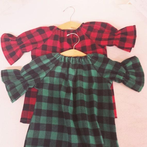 Girls Buffalo Plaid Flannel Dress Green Plaid Thanksgiving