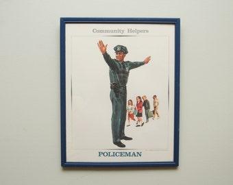 1960s Police Officer Print Standard Printing Company Framed
