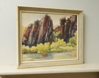 Original Painting Watercolor Western Landscape