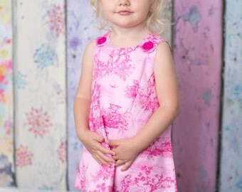 Girl dress - Pink - Classic French Toile - Paris - Baby girl -Toddler girl dress - size 0-3m, 3-6m, 6-12m, 12-18m, 18-24m, 2T, 3T, 4T, 5T