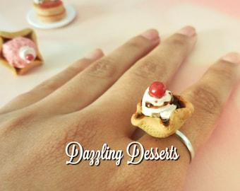 RING   Vanilla Fudge Ice Cream Waffle Cone Bowl Adjustable Ring