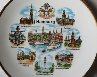 Vintage Hamburg Germany Souvenir Plate - Collectibles - Wall Decor - Home Decor - Wall Hanging - Europe - Porcelain