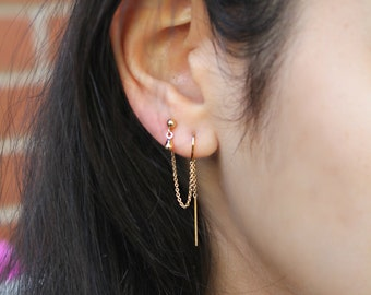 14k gold filled Threaded earrings, threader thread, stud dangle drop, hooks, double combo, two piercings, set of two connected earrings
