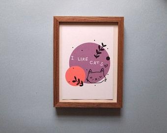 Fluffy cat sketch print - Cat illustration - Cat Print - I like Cats - Black cat - Cat illustration - Cat art - Wall art - art - cat sketch