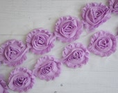 Lilac Shabby Chiffon Flower Trim - Your choice of 1 yard or 1/2 yard -  Chiffon Shabby Rose Trim, DIY headband supplies,