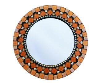 Orange Mirror, Round Wall Mirror, Mosaic Mirror, Orange Home Decor - SALE