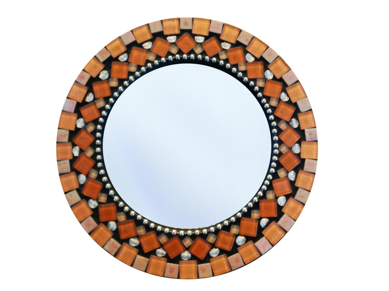 Orange mirror round wall mirror mosaic mirror orange home for Mosaic mirror