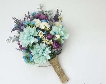 Wildflower Bouquet, Lavender Bouquet, Turquoise, Teal, Purple, Boho Wedding Bouquet, Bridal Bouquet, Silk Flower Bouquet, Silk Wildflower