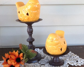 Marigold Bird Tea Light Holders on Pedestal - Table Top Candle Holder
