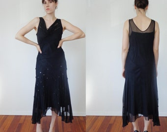 Vtg 90s does 30s WITCHY Bias Cut SILK Dress with Flower APPLIQUES, Medium