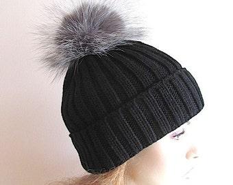 Silver Fox Fur PomPom Cap Beanie Chunky Black Skull Hat Fall Winter Hand Made Accessory