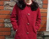 50% off*SALE* 1950s cherry red vintage coat with real fur collar large extra large good condition original fifties red coat volup plus size