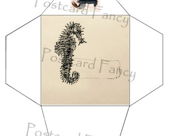 Sea Horse Marine Life, Printable Envelope Template, Instant DIGITAL Download