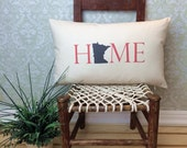 Minnesota Pillow, Long Pillow, Home Pillow, State Pillow, Home Decor, House Warming Gift, House Warming Pillow, Custom Pillow, Lumbar