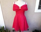 Vintage Short Pink Dress, Bright Pink Dress, Off Shoulder Dress, Pink Party Dress, Cocktail Dress, 50s dress, 60s dress, 70s dress
